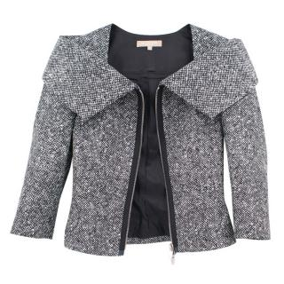 Michael Kors black wool origami collar tweed jacket