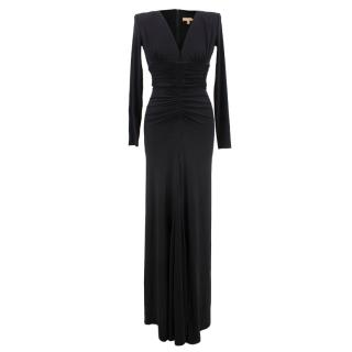 Michael Kors Collection black plunge neck, open back  gown