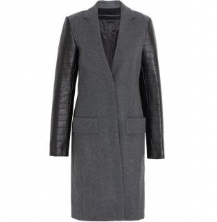 Alexander Wang Wool-blend and croc-effect leather coat