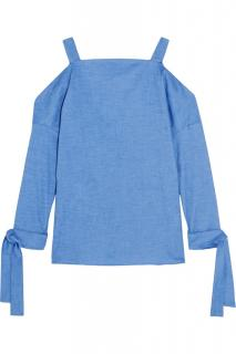 Tibi cutout stretch cotton chambray top