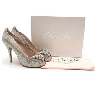 Aruna Seth silver glitter embellished heels