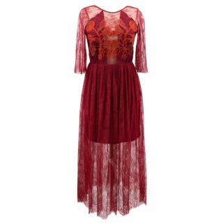 Sandro burgundy pleated lace dress