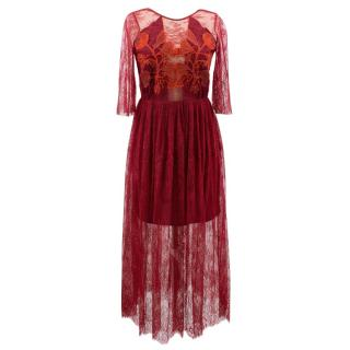 Sandro burgundy pleated lace dress