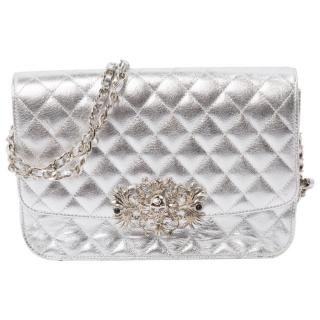 Philipp Plein Metallic silver quilted leather shoulder bag