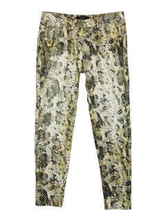 Isabel Marant natural snakeskin print corduroy skinny pants