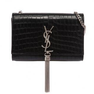 Saint Laurent Small Kate Bag in Crocodile-embossed patent leather