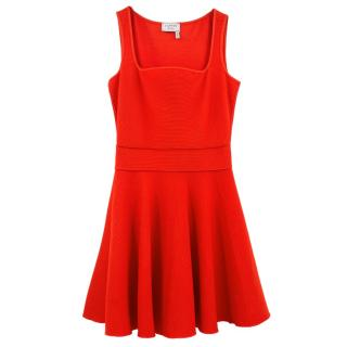 Lanvin red knit flared dress