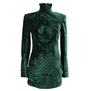 Balmain green silk blend velvet dress