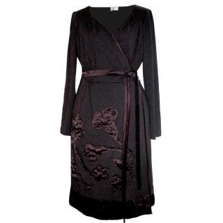 Alberta Ferretti purple wrap dress
