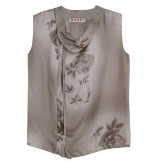 Marni Silk Floral Sleeveless Top