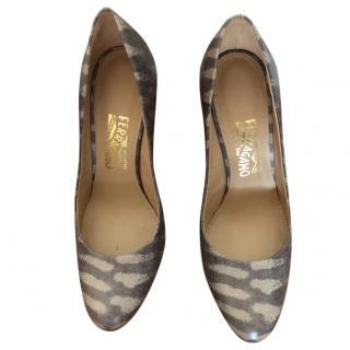 Salvatore Ferragamo nutmeg printed calf pumps