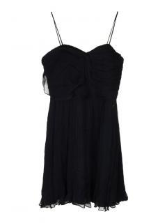 Galliano black silk crepe effect dress