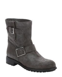 NEW Jimmy Choo gray Youth Shimmer Suede Biker Boots shoes sz37