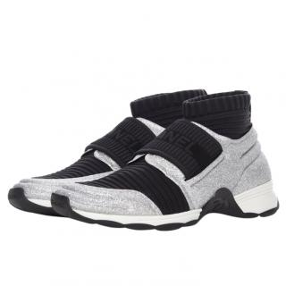 Chanel glitter sock trainers