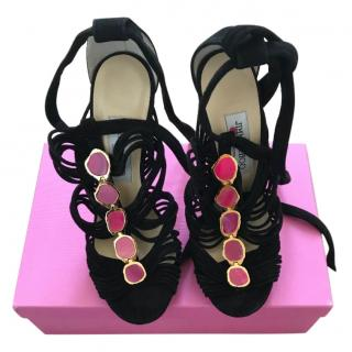 Jimmy Choo black lace-up sandals