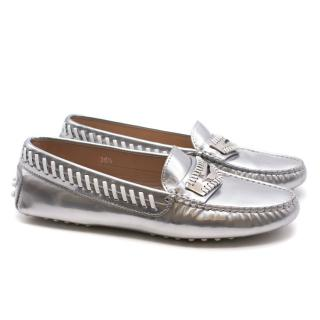Tod's metallic silver leather loafers