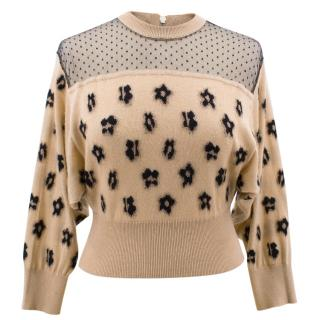 Red Valentino beige cashmere and silk blend sweater
