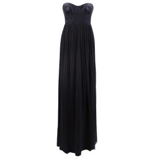 Willlow black silk bustier gown