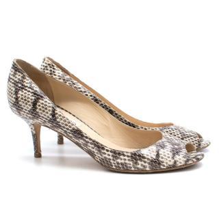 Jimmy Choo Isabel snake embossed leather open toe heels