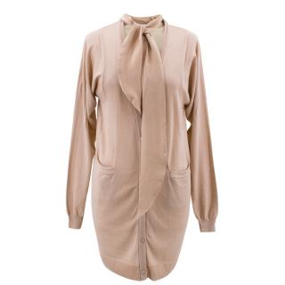 Vionnet Pussy Bow Meshed Back Nude Cardigan