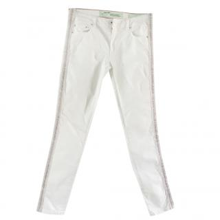 Off-white ladies white denim jeans