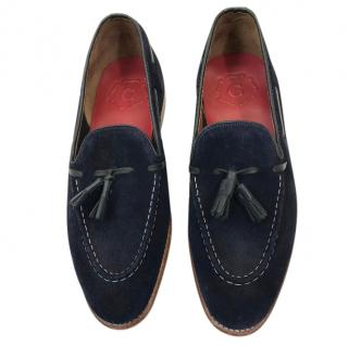 Grenson Navy Suede Shoes