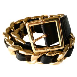 CHANEL Gold Plated Buckle Leather Belt