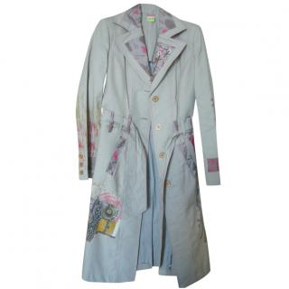 Save The Queen Long Trenchcoat with Graphic Print and Applique Detail