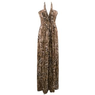BCBG Max Azria Silk Leopard Print Gown Dress