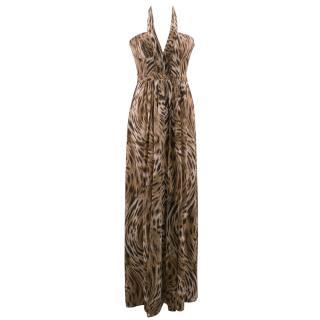 BCBG Max Azria Silk Leopard Print Gown Dress