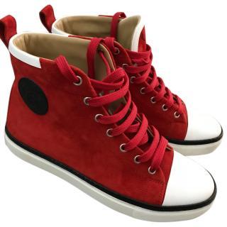 HERMES red hightop sneakers