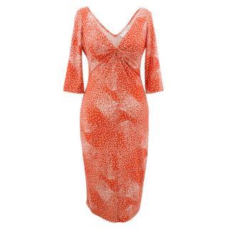 Diane Von Futsenberg V Neck Silk Jersey Dress
