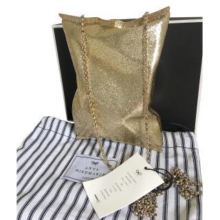 Anya Hindmarsh gold glitter Crisp packet clutch