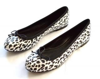 Saint Laurent leopard black-white leather ballet flats shoes