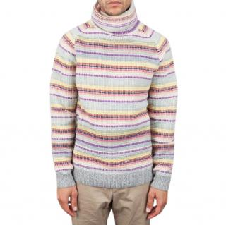 FOLK Tuck Up Peepin Roll Neck Ecru Knit lambswool multi stripe jumper