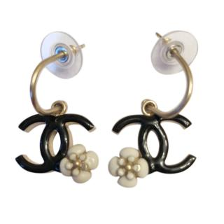 Chanel  CC/Camelia pierced drop earrings