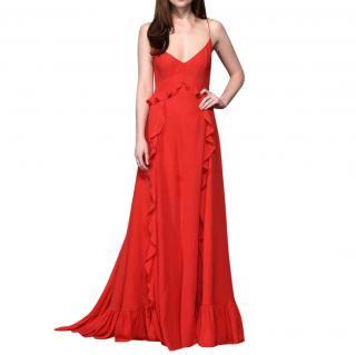 Christian Dior red silk chiffon Evening Gown