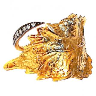 Ana Khouri Gold Leaf and Diamond ring