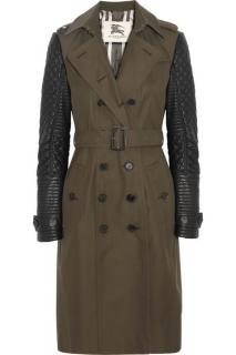Burberry Leather Sleeve Trench