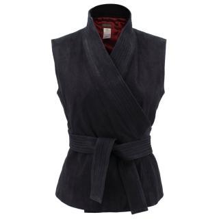 Kenzo suede sleeveless wrap jacket