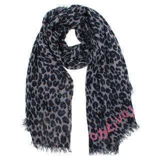 Louis Vuitton Leopard Print Cashmere & Silk Blend Scarf