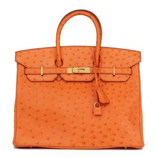 Hermes Orange H Ostrich Birkin 35cm