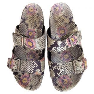 Ash floral python embossed sandals