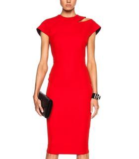victoria beckham red cap sleeve cut-out dress