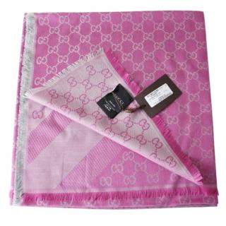 Gucci GG pink silk/wool blend scarf