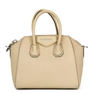 Givenchy Mini Antigona Biege Goatskin Leather  Tote Bag