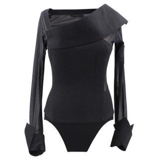 Donna Karan Stretch Mesh Wool-Blend Bodysuit