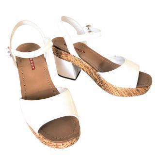 Prada white patent leather wicker platform sandals