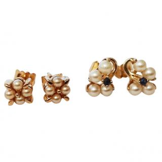 Bespoke Celebrity Owned 2x  Pearl Cluster Gold Set Earrings