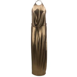 Halston metallic halter-neck draped gown